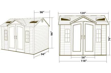 Lifetime 10x8 Plastic Backyard Storage Shed 60001 Dimensions