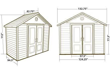 Lifetime 11x3.5 Garden Shed Dimensions
